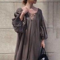 Dress Autumn 2020 Brown, green, black Average size Mid length dress singleton  Long sleeves commute Solid color Korean version