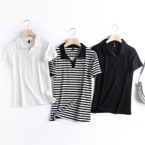 T-shirt White, black, stripe S,M,L Summer 2021 Short sleeve Regular routine other 86% (inclusive) -95% (inclusive)