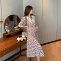 Dress Beszag Decor M,L,XL Europe and America Short sleeve Medium length summer Lapel Decor A320060126q flower rose