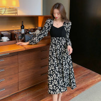 Dress Spring 2021 black S,M,L,XL,2XL longuette singleton  Long sleeves commute square neck High waist Decor Socket A-line skirt routine Others 25-29 years old Type A Korean version bow ZD 51% (inclusive) - 70% (inclusive) Chiffon other
