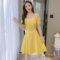 Dress Summer 2021 Blue, yellow S,M,L,XL,2XL Mid length dress singleton  Short sleeve commute square neck High waist Solid color zipper Princess Dress routine Others 25-29 years old Type A Korean version Auricularia auricula, stitching, button, zipper ZD 51% (inclusive) - 70% (inclusive) Chiffon