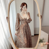 Dress Spring 2021 Pink flowers, black flowers S,M,L,XL longuette singleton  Long sleeves commute V-neck High waist Decor Socket A-line skirt routine Others 25-29 years old Type A court Lace ZD 51% (inclusive) - 70% (inclusive) Chiffon polyester fiber