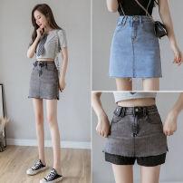 skirt Spring 2021 S,M,L,XL Blue, black Short skirt Versatile High waist Denim skirt Solid color Type A 25-29 years old ZD 51% (inclusive) - 70% (inclusive) Denim cotton Pockets, zippers, buttons