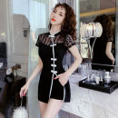 Dress Spring 2020 Black 1, black 2 S,M,L,XL,2XL Short skirt Two piece set Short sleeve commute stand collar High waist Solid color Three buttons A-line skirt routine Others 18-24 years old Type A Korean version Stitching, buttons, zippers, lace GD 81% (inclusive) - 90% (inclusive)