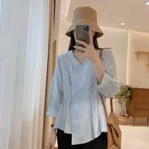 shirt Temperament white, haze blue Average size Spring 2021 other 81% (inclusive) - 90% (inclusive) Long sleeves commute Regular V-neck Single row multi button routine Solid color 25-29 years old Straight cylinder IMFLY Korean version C1091