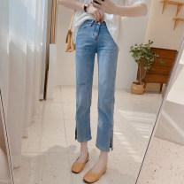 Jeans Summer 2021 Denim blue S/26,M/27,L/28,XL/29 Ninth pants High waist Straight pants routine 25-29 years old Cotton elastic denim light colour K0820 IMFLY 81% (inclusive) - 90% (inclusive)