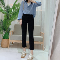 Jeans Summer 2020 S,M,L,XL Ninth pants High waist Straight pants routine 25-29 years old Cotton elastic denim Dark color IMFLY 96% and above