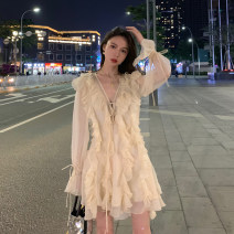 Dress Spring of 2019 Beige S,M,L Middle-skirt singleton  Long sleeves Sweet V-neck middle-waisted Type H Lace, lace