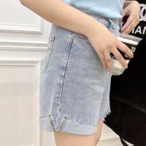 Women's large Summer 2021 blue L, XL, 2XL, 3XL, 4XL, 5XL commute Solid color Korean version Denim 96% and above trousers