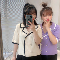 Women's large Summer 2021 Apricot, purple, black L-xl, 2XL, 3XL suit singleton  commute easy moderate Socket Solid color Korean version other Others, polyester Collage DL9565 25-29 years old Three dimensional decoration 91% (inclusive) - 95% (inclusive)