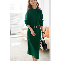 Dress Winter 2020 green , oatmeal  M, L longuette singleton  Long sleeves commute Crew neck middle-waisted Solid color Socket other Others Type H VILME Simplicity 1D2662 More than 95% Cashmere