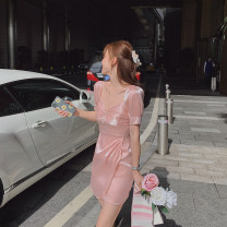 Dress Summer 2020 Pink S, M Short skirt singleton  Short sleeve commute V-neck High waist Socket Princess Dress puff sleeve Others Type A Korean version bow L200508 31% (inclusive) - 50% (inclusive) other