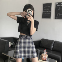 skirt Spring 2021 S,M,L The second batch of Tibetan Plaid Short skirt commute High waist Pleated skirt lattice Type A 18-24 years old 30% and below other polyester fiber