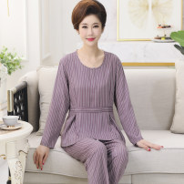 Pajamas / housewear set female Other / other XL [suitable for 80-100 kg], XXL [suitable for 100-120 kg], 3XL [suitable for 120-140 kg], 4XL [suitable for 140-160 kg] other Long sleeves luxurious Leisure home autumn Thin money Crew neck other trousers Socket middle age 2 pieces rubber string printing