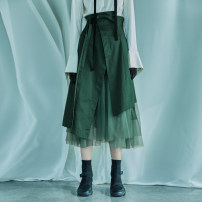 skirt Spring 2020 1S,1M,1L,1XL Serenity green, serenity green second batch Mid length dress commute Irregular Solid color Type A 25-29 years old 20C1153Q other The sun is shining cotton Simplicity