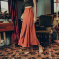 skirt Summer 2021 Average size Grey, peacock green, mocha red longuette commute High waist Irregular Solid color Type A Chiffon Lace up Retro