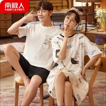 Pajamas / housewear set lovers NGGGN Female m, female L, female XL, female XXL, male L, male XL, male XXL, male XXXL cotton Short sleeve Simplicity Leisure home summer routine Crew neck Solid color shorts Front buckle youth 2 pieces rubber string More than 95% pure cotton printing 200g and below