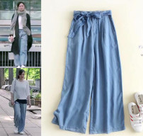 Casual pants Dark blue, light blue S,XL,L,M Summer of 2018 Ninth pants Wide leg pants Other styles other bow