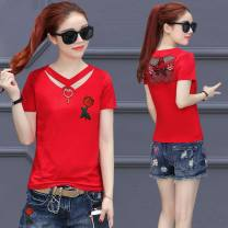 T-shirt Black, yellow, red, white S,M,L,XL,2XL,3XL Summer of 2019 Short sleeve V-neck Self cultivation Regular routine commute other 30% and below Korean version originality Plants and flowers, solid color Stitching, holes, hollowing out, backless