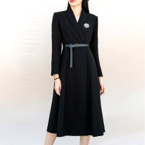 Dress Autumn 2020 black 36 / S (spot), 38 / M (spot), 40 / L (spot), 42 / XL (spot) Mid length dress singleton  Long sleeves commute tailored collar middle-waisted Solid color A button Big swing routine Others Type X Zou Mo Simplicity Pocket, button 20L100806 51% (inclusive) - 70% (inclusive)