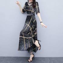 Dress Autumn 2020 black M,L,XL,2XL,3XL,4XL Mid length dress singleton  Short sleeve commute V-neck middle-waisted Decor Socket A-line skirt routine Others 18-24 years old Type A Korean version More than 95% other polyester fiber