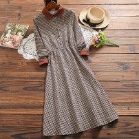Dress Spring 2021 Caramel, apricot S,M,L,XL longuette singleton  Long sleeves commute Polo collar Elastic waist lattice Socket A-line skirt routine Others Type X Retro Button, button 71% (inclusive) - 80% (inclusive) corduroy