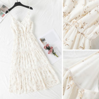 Dress Summer 2020 Off white S,M,L Mid length dress singleton  Sleeveless Sweet V-neck Elastic waist Decor Socket other other camisole Type A 51% (inclusive) - 70% (inclusive) Chiffon Mori