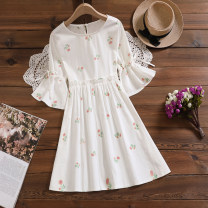 Dress Summer 2021 floret M,L,XL,2XL Middle-skirt singleton  Short sleeve commute Crew neck Loose waist Solid color other other routine Others Type H literature Buttons, embroidery, bows 31% (inclusive) - 50% (inclusive) other cotton
