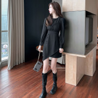 Dress Spring 2021 black S,M,L,XL Short skirt singleton  Long sleeves commute Crew neck High waist Solid color Socket A-line skirt routine Others 25-29 years old Type A Korean version Splicing 51% (inclusive) - 70% (inclusive) other polyester fiber