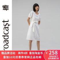 Dress Summer 2020 W20 white, Q00 Navy, K40 black XS,S,M,L,XL Mid length dress singleton  Short sleeve commute Crew neck Loose waist Solid color Socket A-line skirt bishop sleeve 25-29 years old Type A Broadcast / broadcast Simplicity DDN2LD135 More than 95% cotton