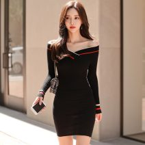 Dress Autumn 2021 Apricot, Burgundy, black Average size Miniskirt singleton  Long sleeves commute V-neck middle-waisted stripe Socket One pace skirt routine Others Other / other Korean version 81% (inclusive) - 90% (inclusive) knitting other