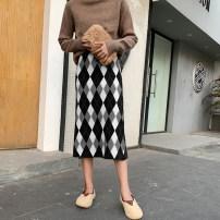skirt Spring 2021 Average size Black, brown Mid length dress commute High waist 18-24 years old Korean version