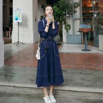 Dress Spring 2021 Navy Blue S,M,L,XL longuette singleton  Long sleeves commute Polo collar High waist Solid color Single breasted A-line skirt shirt sleeve Others Type A Other / other Korean version Pockets, straps, buttons 91% (inclusive) - 95% (inclusive)
