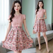 Dress Summer of 2019 8729 pink 8729 8755 red 8755 black 8703 decor 8725 white flower 8712 peacock blue 8611 picture color printing 8710 picture color 8959 pink 8959 blue 8966 light blue 8966 Pink S M L XL 2XL 3XL Mid length dress singleton  Short sleeve commute Crew neck middle-waisted Broken flowers