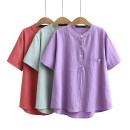 Middle aged and old women's wear Summer 2021 Purple, watermelon red, light blue XL,XXL,XXXL,XXXXL leisure time T-shirt easy singleton  Solid color 40-49 years old Socket moderate Crew neck routine routine pocket cotton 51% (inclusive) - 70% (inclusive) Short sleeve