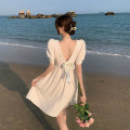 Dress Summer 2021 Apricot, white, pink S, M Short skirt singleton  Short sleeve commute square neck High waist Solid color A-line skirt puff sleeve 18-24 years old Type A Korean version 4.13B