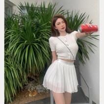 Fashion suit Summer 2021 S. M, average size White jacket, white pleated skirt 18-25 years old 4.9C