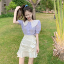 Fashion suit Summer 2021 S. M, average size Purple shirt, white skirt 18-25 years old 4.7A