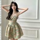 Dress Summer 2021 Mixed color of oil painting S, M Short skirt singleton  Sleeveless commute V-neck High waist Socket A-line skirt camisole 18-24 years old Type A Korean version 4.12B