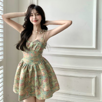 Dress Summer 2021 Mixed color of oil painting S, M Short skirt singleton  Sleeveless commute V-neck High waist Socket A-line skirt camisole 18-24 years old Type A Korean version 4.12B