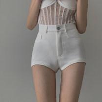 Casual pants White, black S,M,L Summer 2021 shorts Straight pants High waist Versatile Thin money 18-24 years old 3.18B pocket