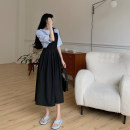 Dress Summer 2021 Black suspender skirt, blue T-shirt S. M, average size Mid length dress Two piece set commute High waist Solid color A-line skirt camisole 18-24 years old Type A Retro 4.10A