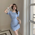 Dress Summer 2021 Blue dress Average size Middle-skirt singleton  Short sleeve commute Crew neck High waist Solid color other A-line skirt routine 18-24 years old Type A Korean version Hollowing out 3.31C