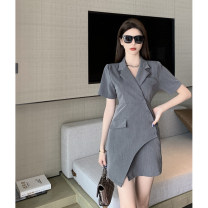 Dress Summer 2021 Black dress, grey dress S, M Middle-skirt singleton  Short sleeve commute tailored collar High waist Solid color Single breasted A-line skirt routine 18-24 years old Type A Korean version Pocket, button 4.9C
