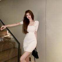 Dress Summer 2021 White, black Average size Middle-skirt singleton  Short sleeve commute square neck Solid color Socket routine 18-24 years old Korean version Button 4.9C
