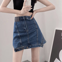 skirt Summer 2021 S,M,L Picture color Short skirt commute High waist Denim skirt Solid color Type A 18-24 years old 4.8C Button Retro