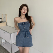 Dress Summer 2021 Blue bra skirt S, M Short skirt singleton  Sleeveless commute One word collar High waist Solid color Breast wrapping 18-24 years old Type A Korean version 4.14B