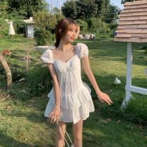 Dress Summer 2021 white Average size Short skirt singleton  Short sleeve commute V-neck High waist Solid color zipper Cake skirt puff sleeve 18-24 years old Type A Korean version zipper 4.12C