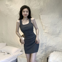 Dress Summer 2021 Gray, black Average size Short skirt singleton  Sleeveless commute square neck High waist Solid color Socket A-line skirt camisole 18-24 years old Type A Korean version 4.12A