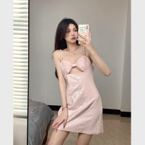 Dress Summer 2021 Pink Average size Middle-skirt singleton  Sleeveless commute V-neck Solid color zipper A-line skirt camisole 18-24 years old Type A Korean version bow 4.1C